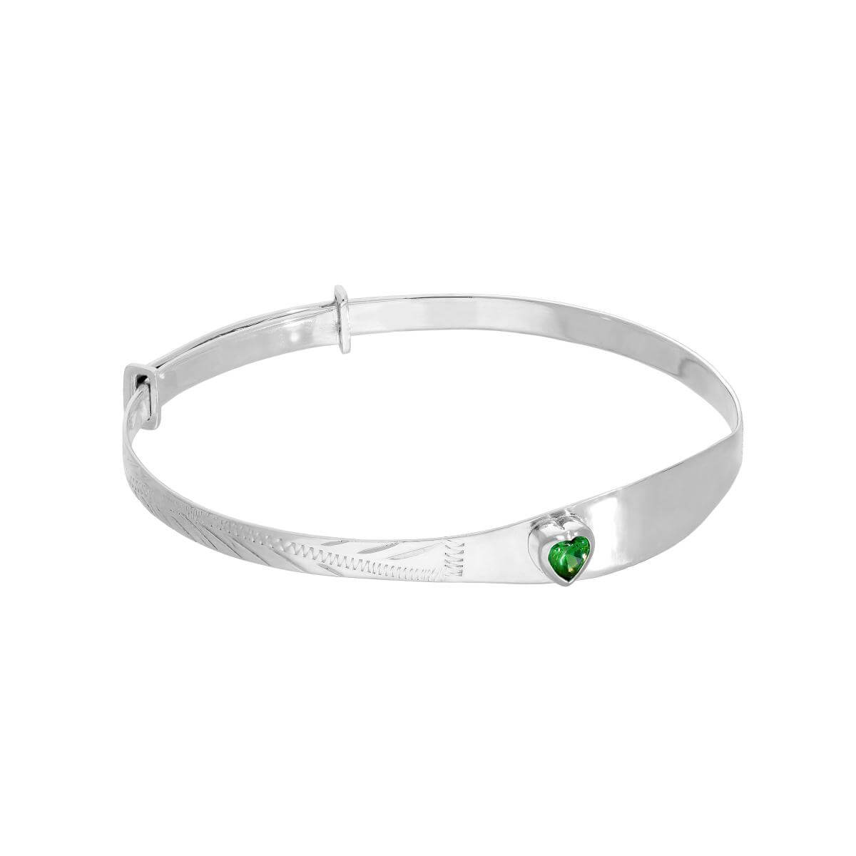 Sterling Silver & Emerald CZ Crystal Birthstone Heart Maiden Bangle