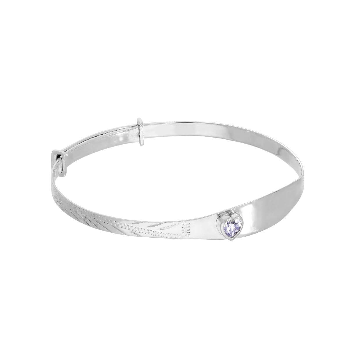 Sterling Silver & Alexandrite CZ Crystal Birthstone Heart Maiden Bangle
