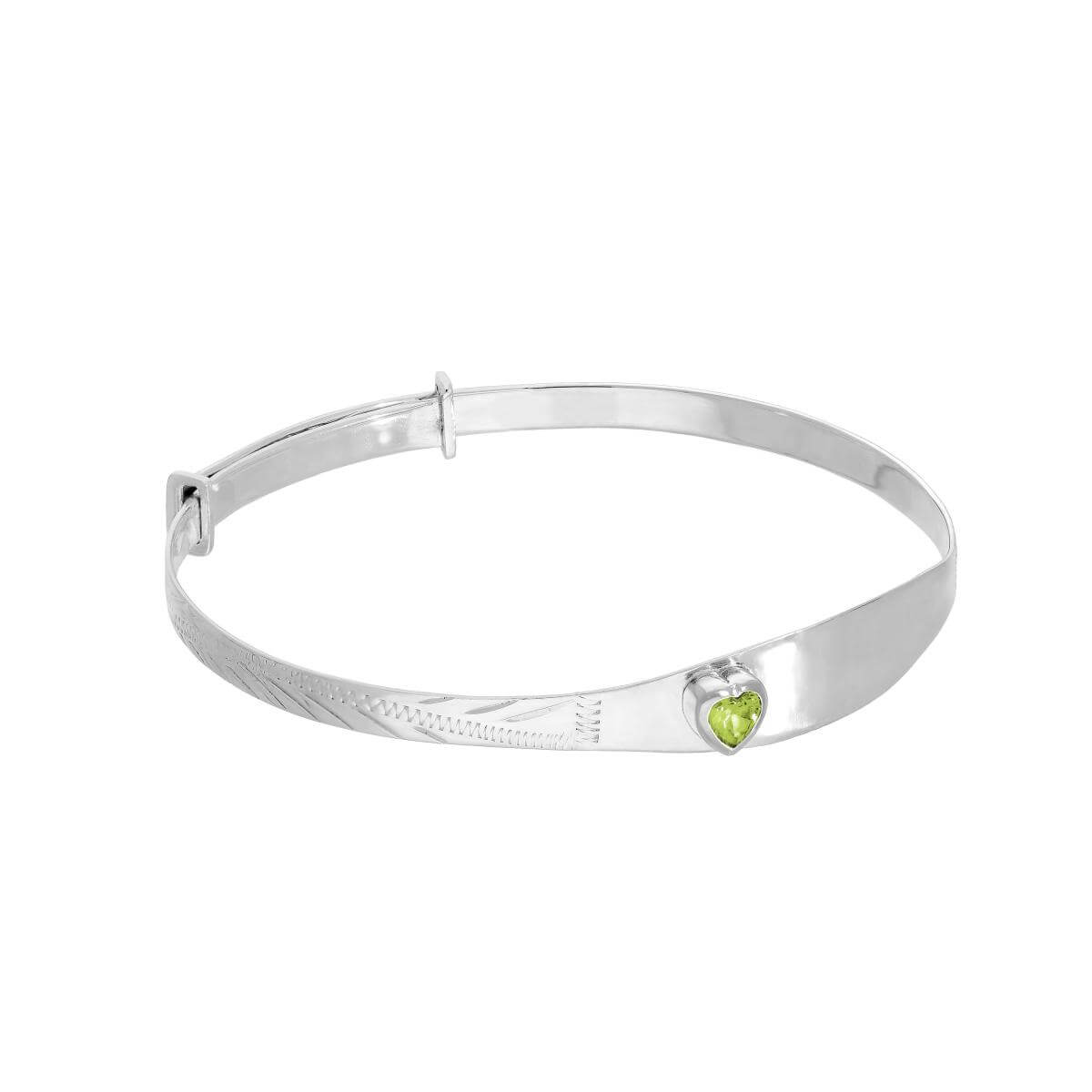 Sterling Silver & Peridot CZ Crystal Birthstone Heart Maiden Bangle