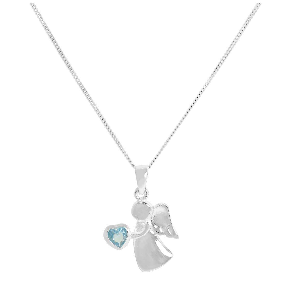 Sterling Silver & Aquamarine CZ Crystal March Birthstone Angel Pendant on Chain 14 - 32 Inches