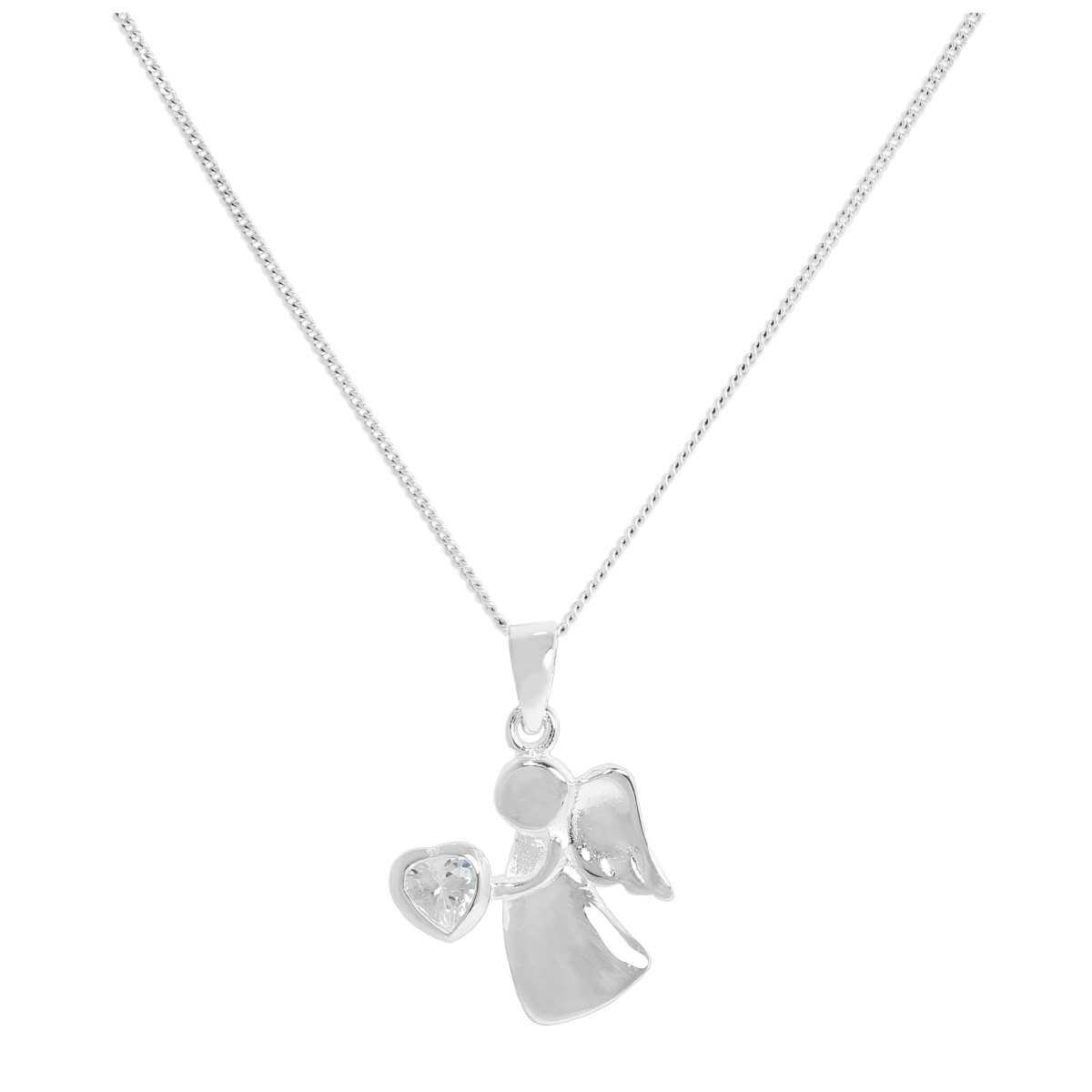 Sterling Silver & Clear CZ Crystal April Birthstone Angel Pendant on Chain 14 - 32 Inches