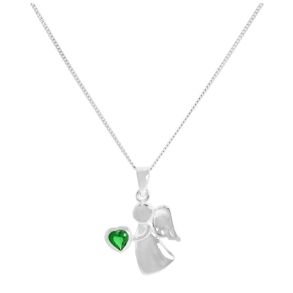 Sterling Silver & Emerald CZ Crystal May Birthstone Angel Pendant Necklace 14 - 32 Inches