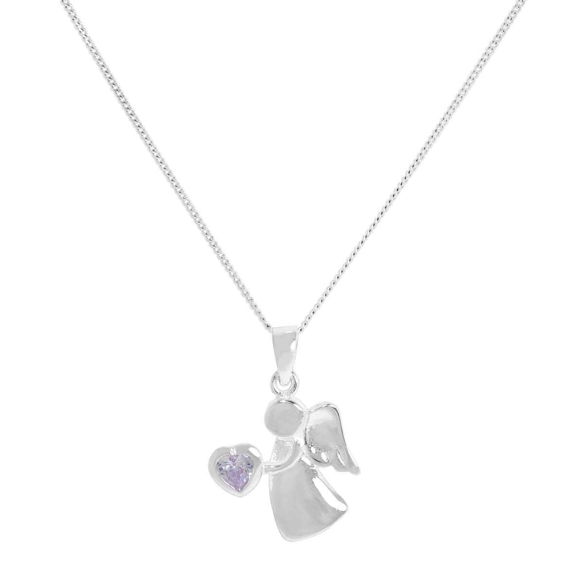 Sterling Silver & Alexandrite CZ Crystal June Birthstone Angel Pendant Necklace 14 - 32 Inches