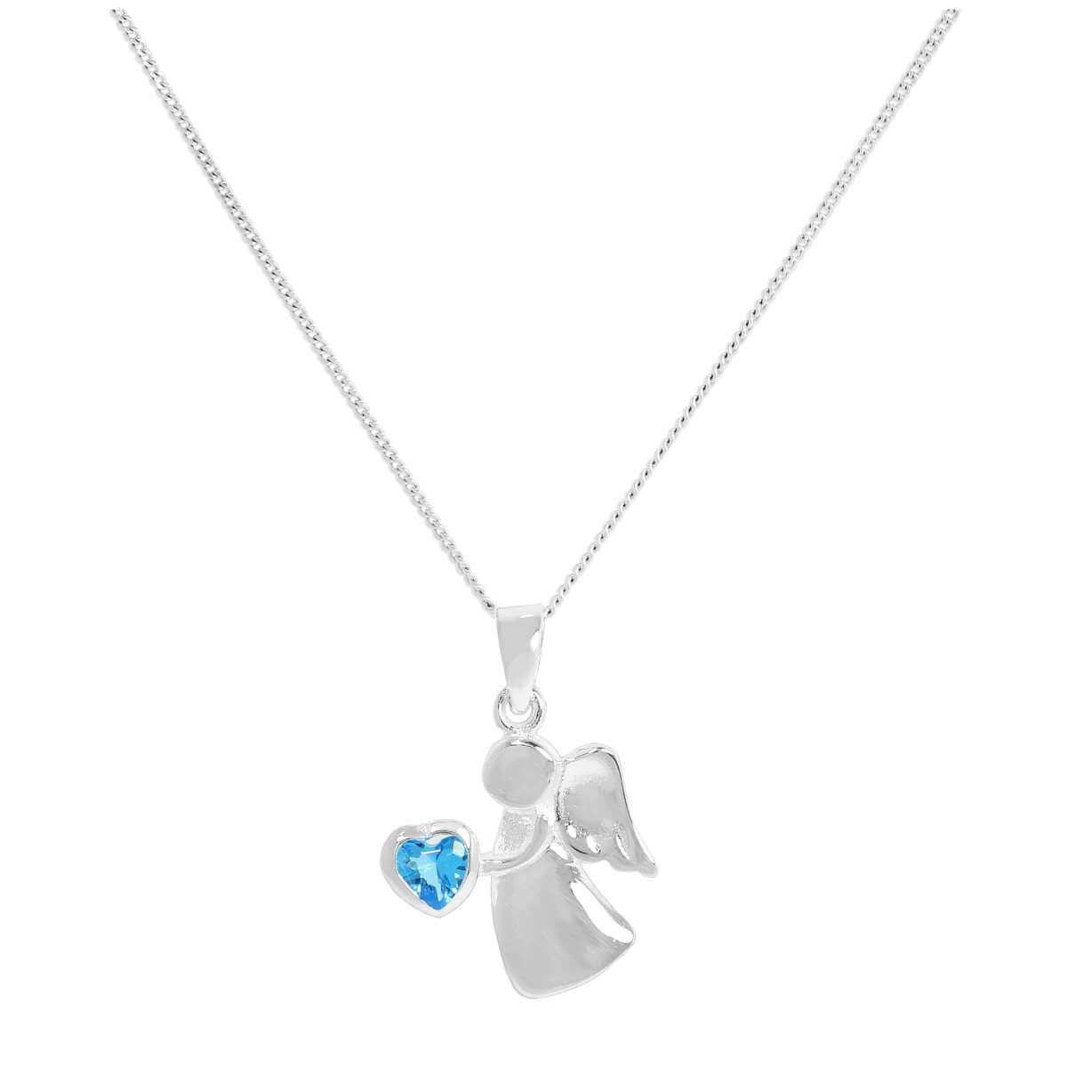 Sterling Silver & Blue Zircon CZ Crystal December Birthstone Angel Pendant Necklace 14 - 32 Inches