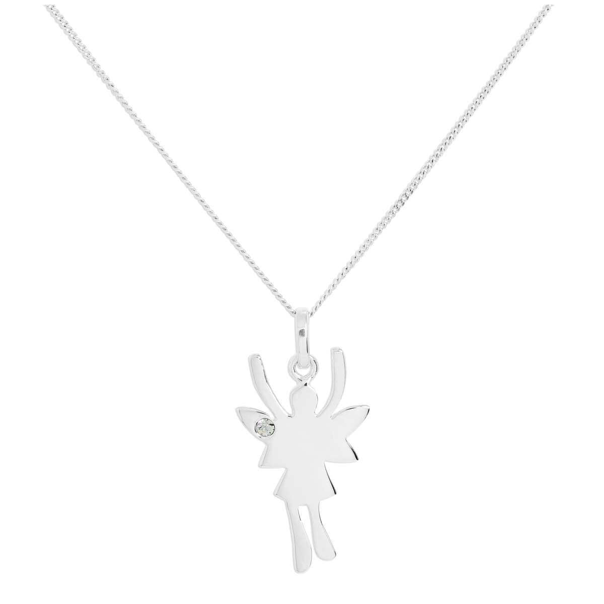 Sterling Silver & Clear CZ Crystal April Birthstone Funky Fairy Pendant Necklace 14 - 32 Inches