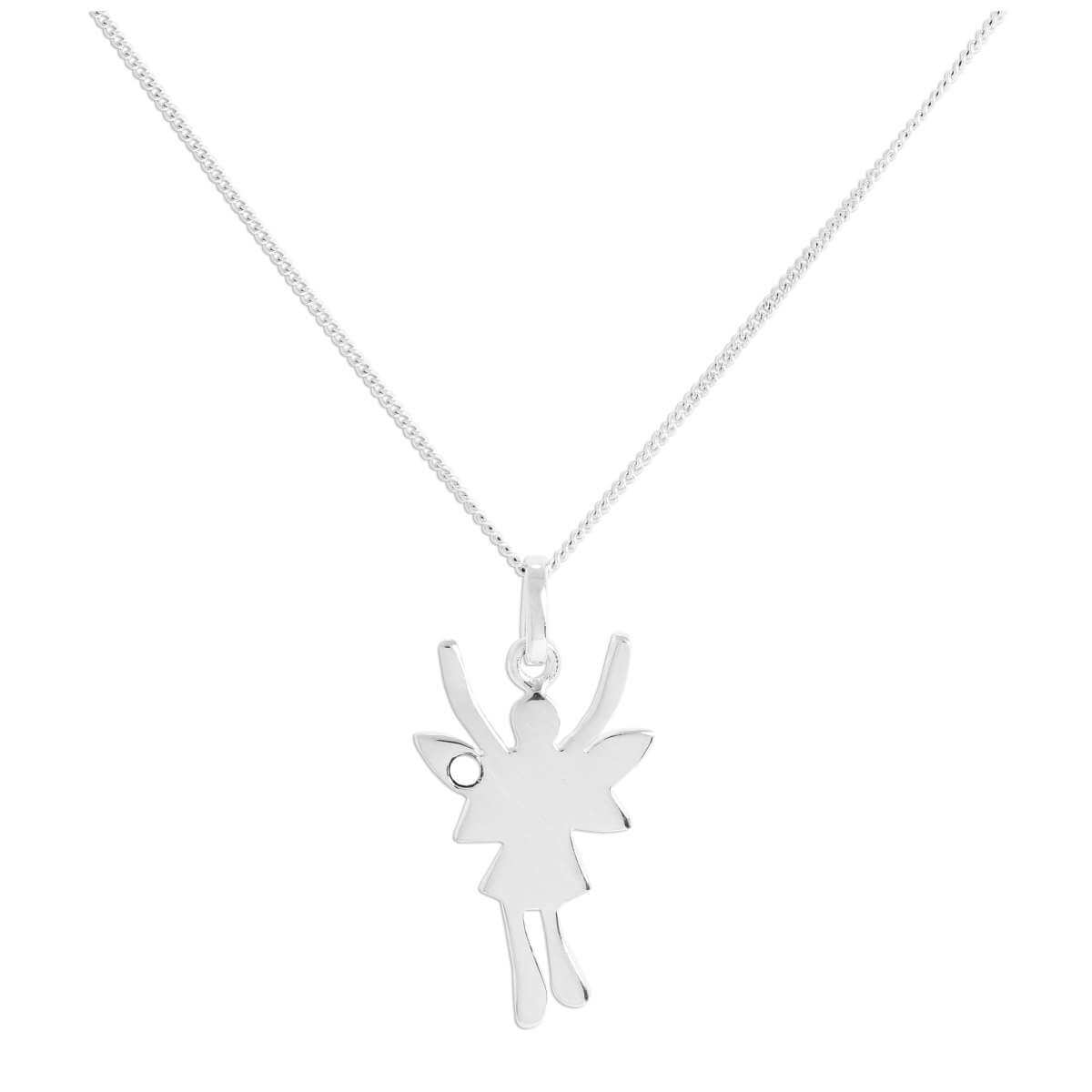 Sterling Silver & Moonstone CZ Crystal June Birthstone Funky Fairy Pendant on Chain 14 - 32 Inches
