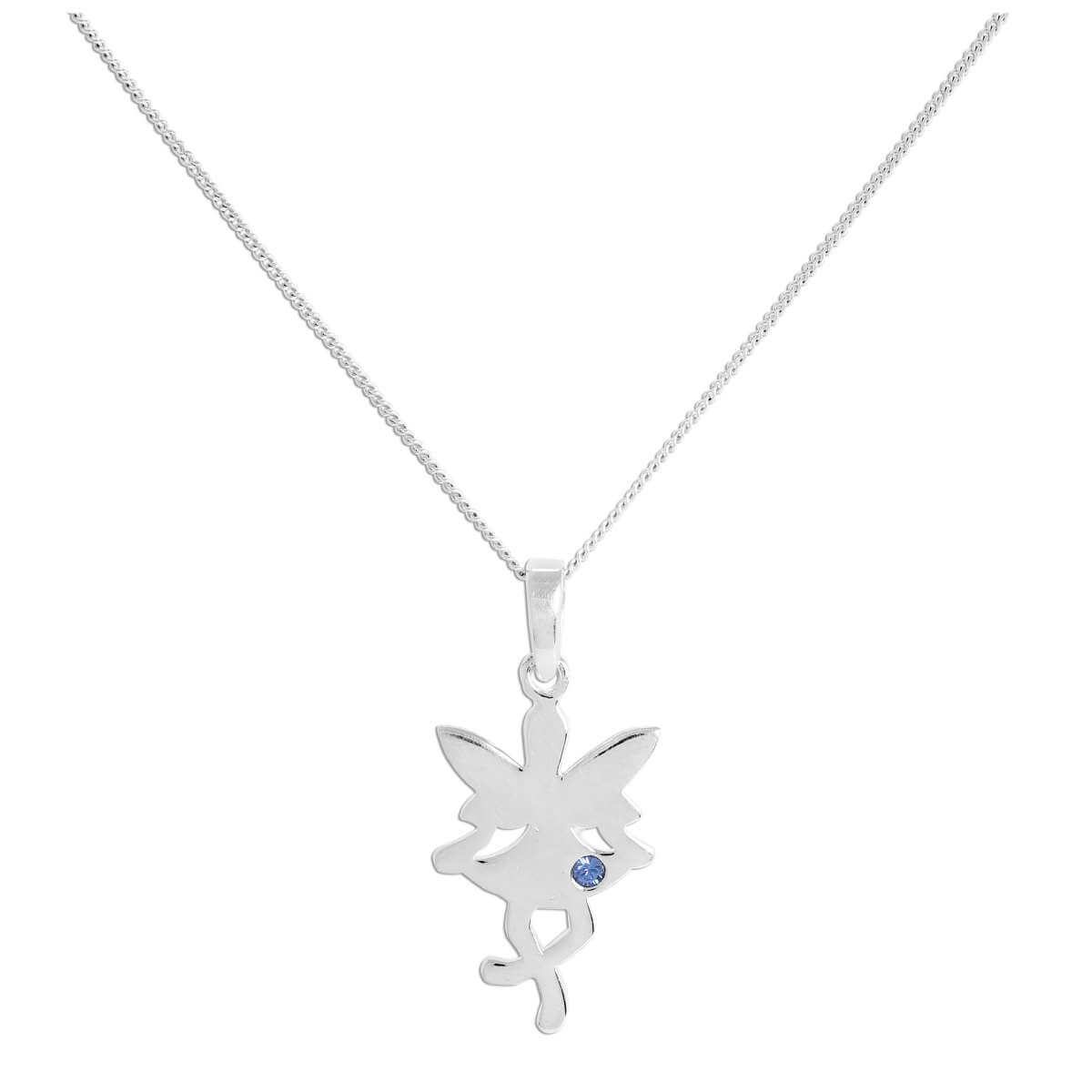 Sterling Silver & Sapphire CZ Crystal September Birthstone Funky Fairy Pendant Necklace 14 - 32 Inches