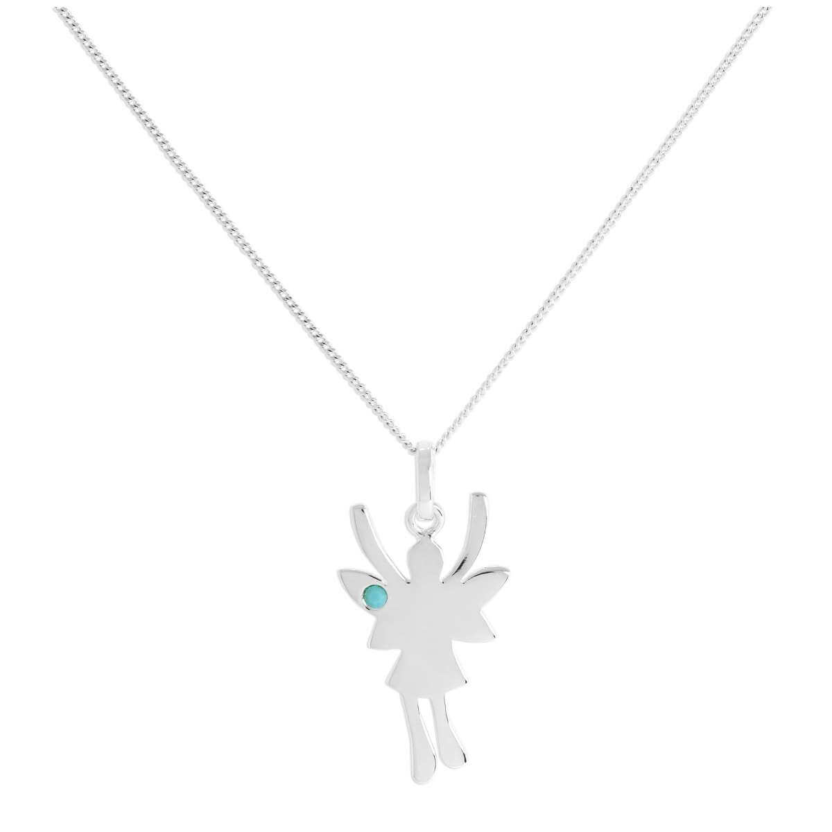 Sterling Silver & Turquoise CZ Crystal December Birthstone Funky Fairy Pendant Necklace 14 - 32 Inches