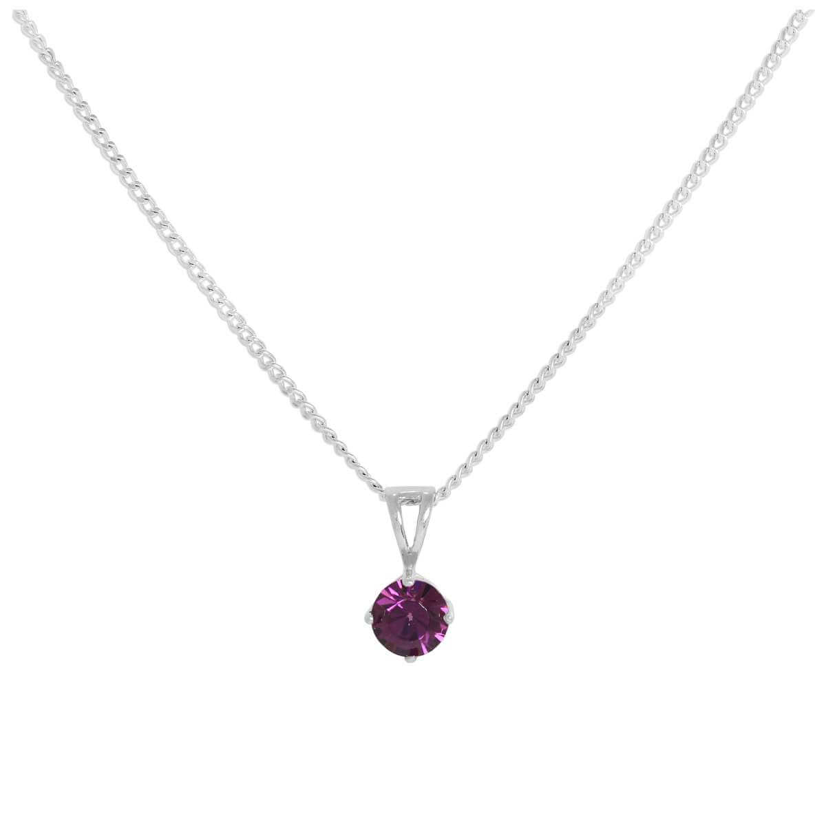 Sterling Silver & Amethyst Crystal Made with Swarovski Elements February Birthstone Pendant Necklace 16 - 24 Inches