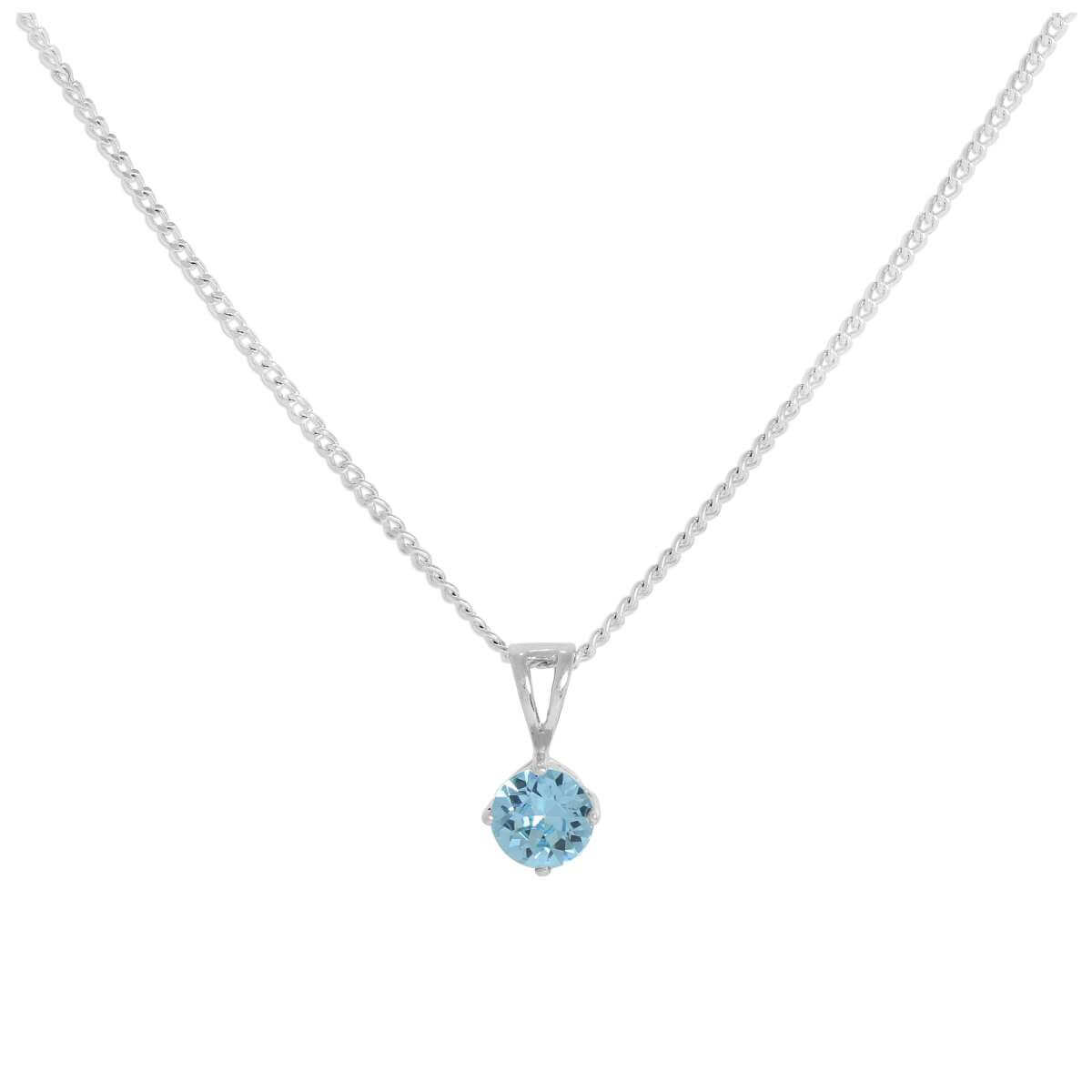 Sterling Silver & Aquamarine Crystal Made with Swarovski Elements March Birthstone Pendant Necklace 16 - 24 Inches