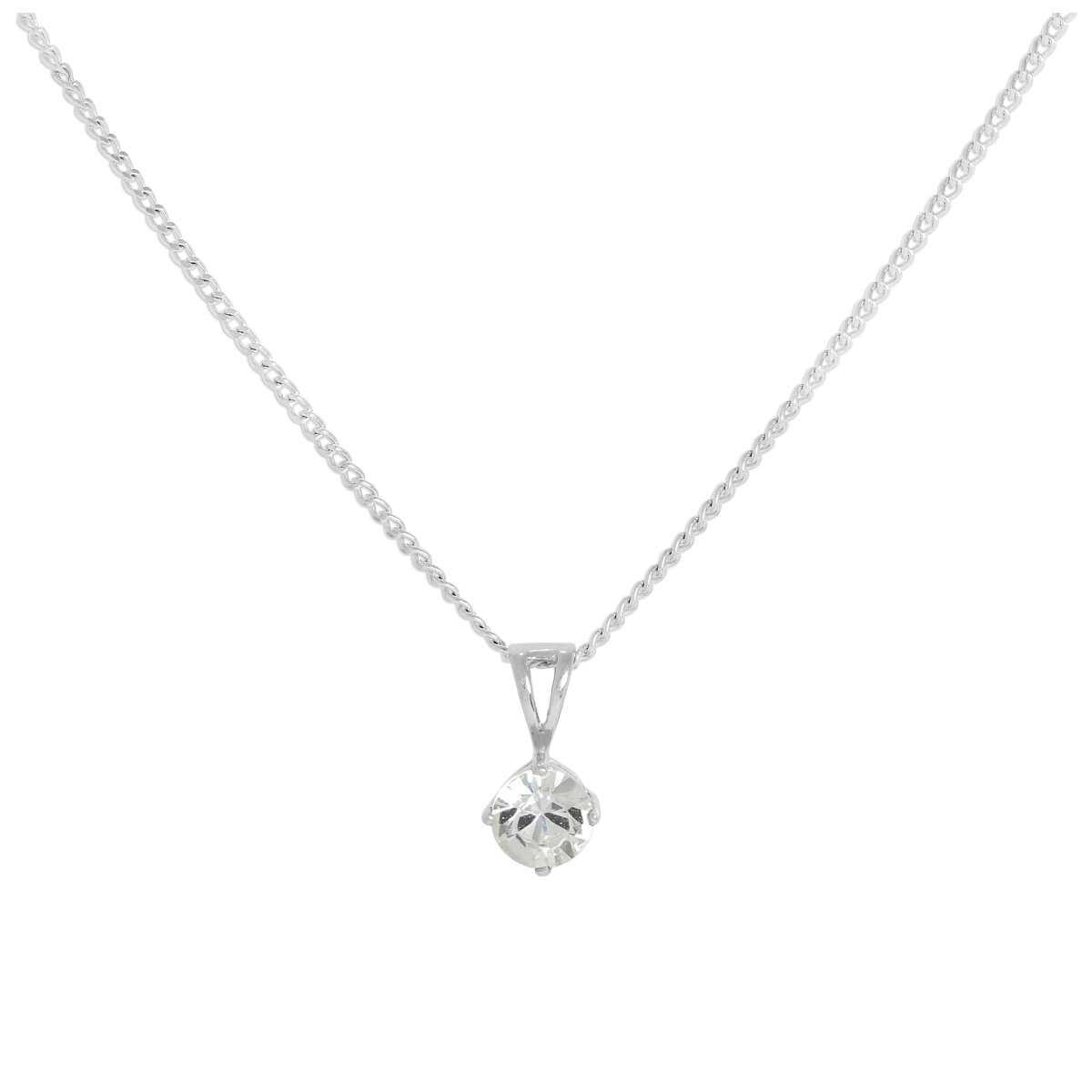 Sterling Silver & Clear Crystal Made with Swarovski Elements April Birthstone Pendant Necklace 16 - 24 Inches
