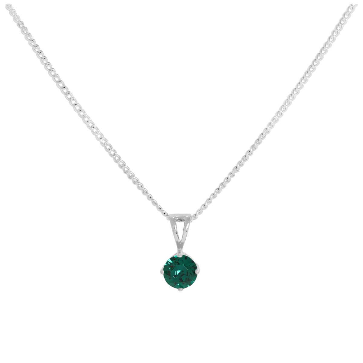 Sterling Silver & Emerald Crystal Made with Swarovski Elements May Birthstone Pendant Necklace 16 - 24 Inches