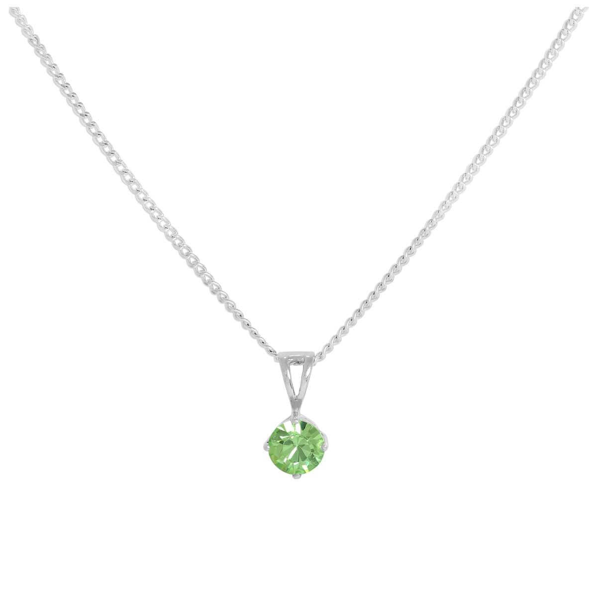 Sterling Silver & Peridot Crystal Made with Swarovski Elements August Birthstone Pendant Necklace 16 - 24 Inches