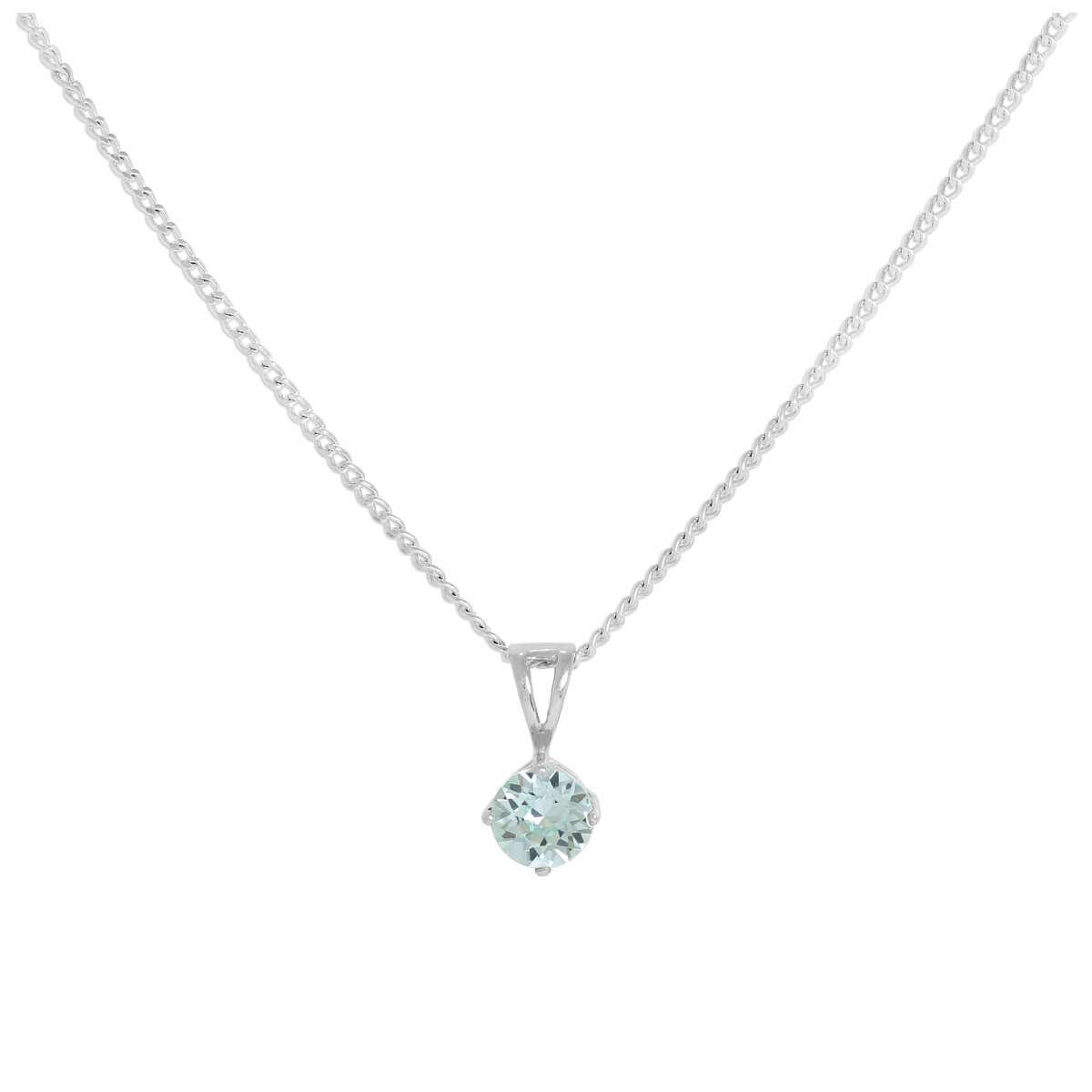 71863276d815 Sterling Silver   Aquamarine Crystal Made with Swarovski Elements Pendant  on Chain 16 - 24 Inches