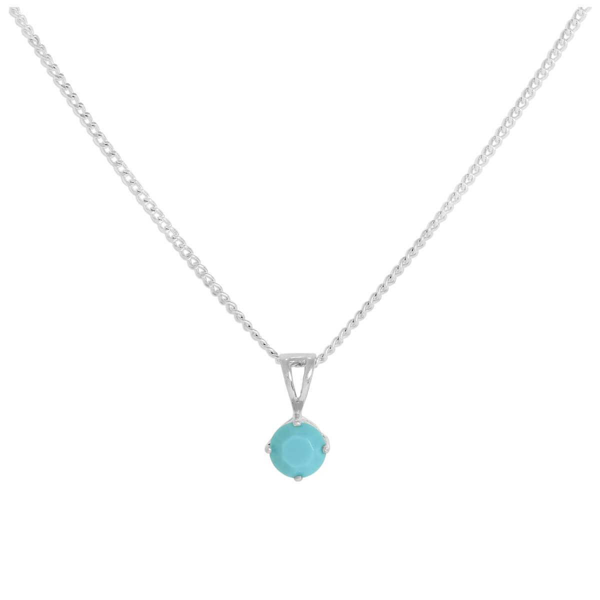 Sterling Silver & Turquoise Crystal Made with Swarovski Elements December Birthstone Pendant Necklace 16 - 24 Inches
