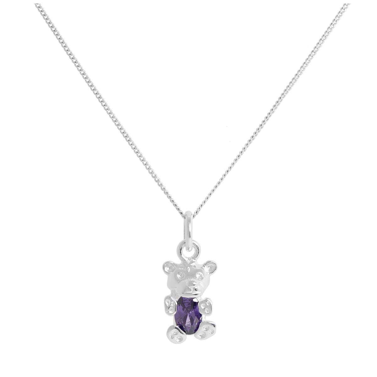 Sterling Silver February Amethyst CZ Birthstone Bear Necklace 14 - 32 Inches