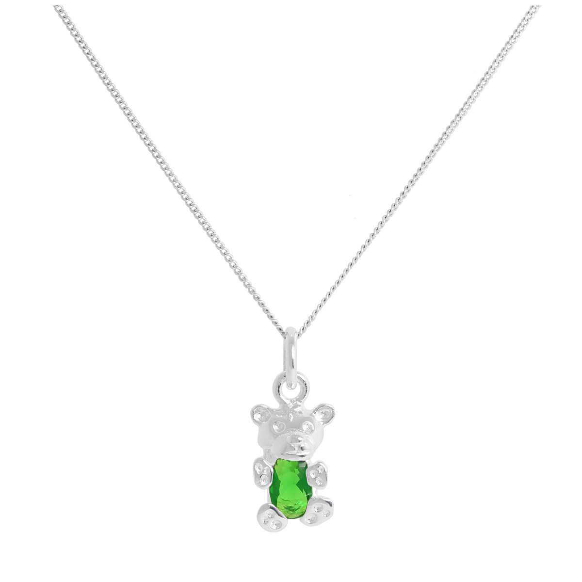 Sterling Silver May Emerald CZ Birthstone Bear Necklace 14 - 32 Inches
