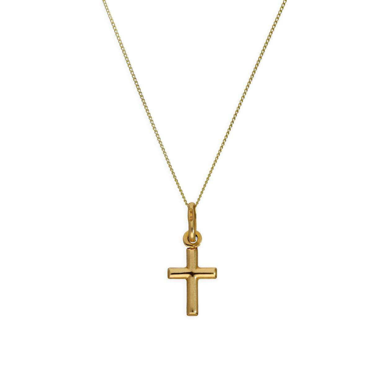9ct Gold Small 3D Cross Pendant Necklace 16 - 20 Inches