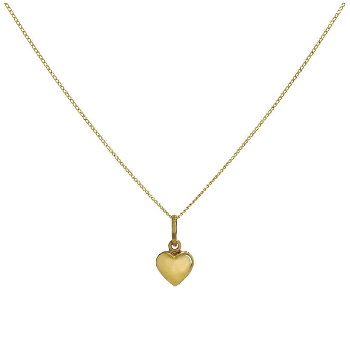 9ct Yellow Gold Hollow Tiny Puffed Heart Pendant Necklace 16 - 20 Inches